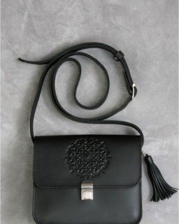 черная кожаная сумка женская ручная работа