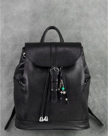 черный повседневный рюкзак из кожи ручной работы