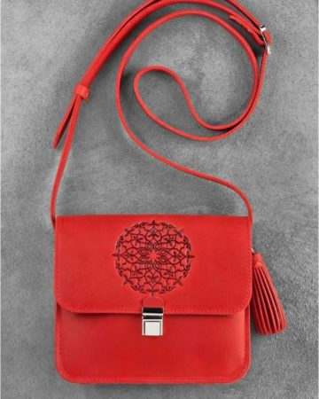 красная женская сумка кожаная ручная работа