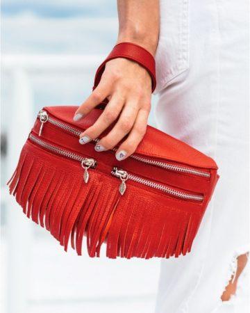 красная сумка на пояс из натуральной кожи ручной работы