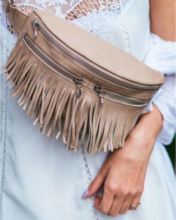 кожаная сумка на пояс ручной работы