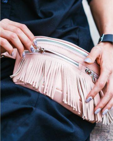 розовая поясная сумка из кожи ручной работы