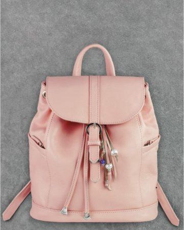 розовый кожаный рюкзак ручной работы