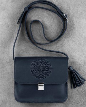 синяя сумка из натуральной кожи киев