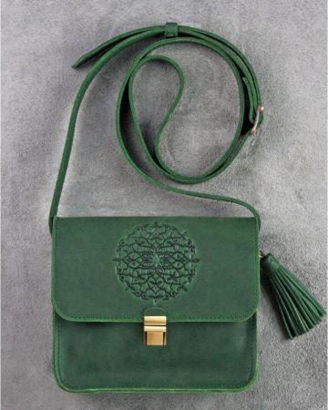 зеленая кожаная сумка ручной работы
