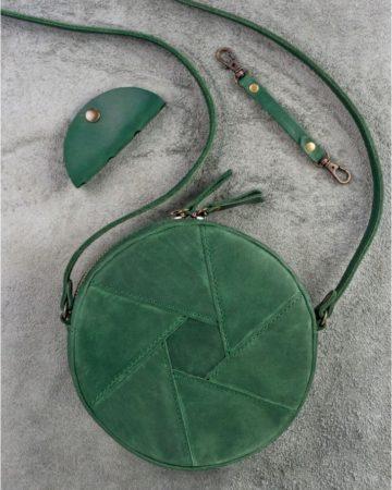 винтажная круглая сумка из кожи ручной работы