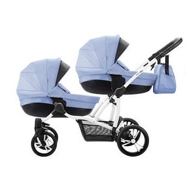 коляска для двойни голубая