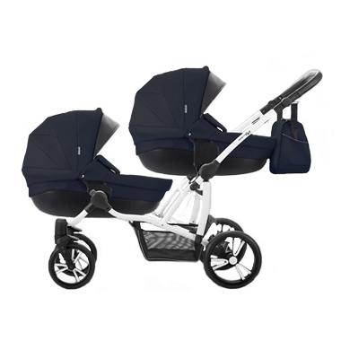 детская коляска для двойни темная
