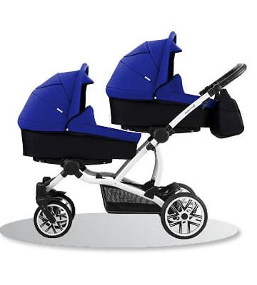 коляска для двойни синяя